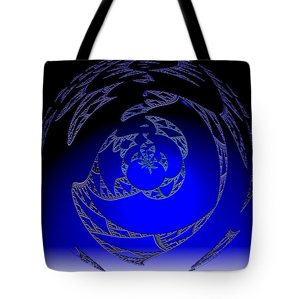 Blue Triangle Outter Space Abstract Worlds Galaxy Portal Tote Bag featuring the digital art Simply Blue by Andrea Lawrence