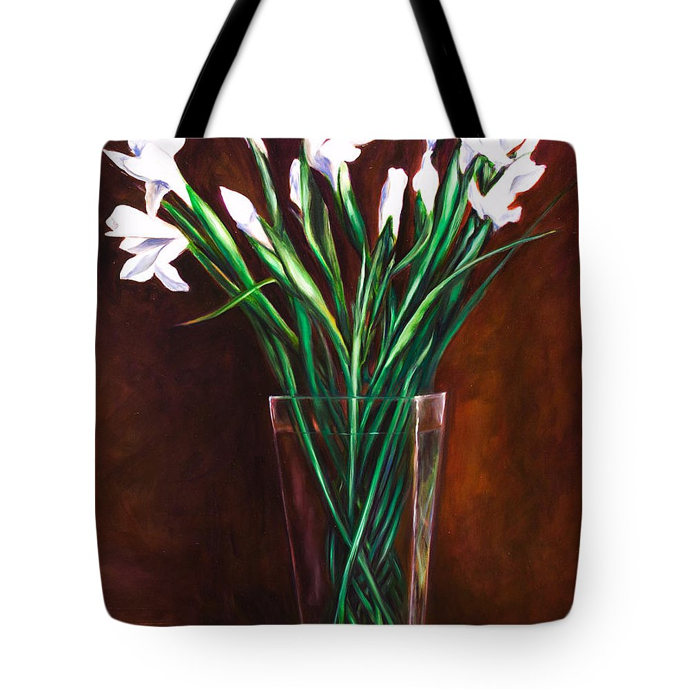 Iris Tote Bag featuring the painting Simply Iris by Shannon Grissom