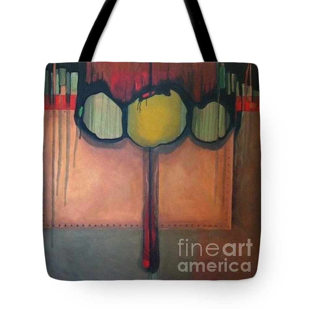 Metallic Tote Bag featuring the painting Simply Riveting by Marlene Burns
