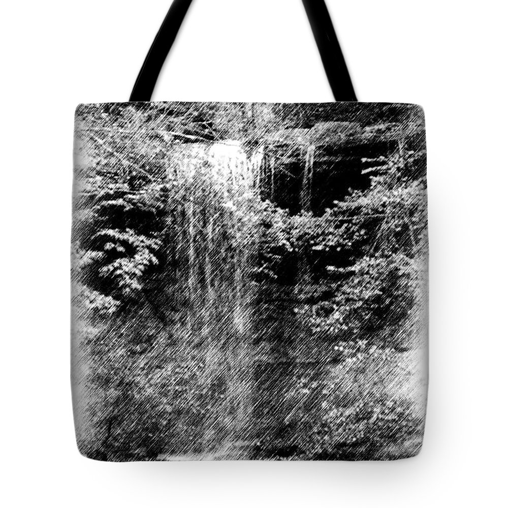 Digital Photograph Tote Bag featuring the photograph Simulated Pencil Drawing Tinker Falls. by David Lane