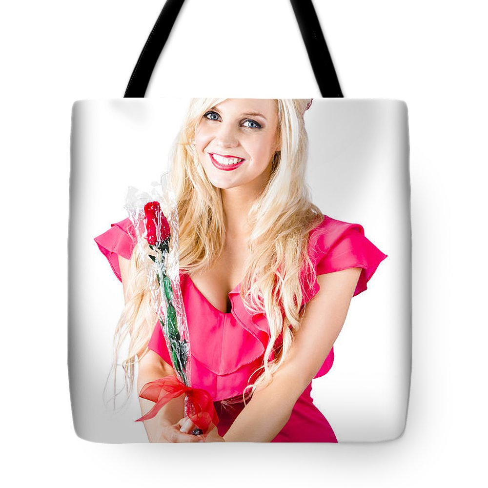 Adult Tote Bag featuring the photograph Sincere Woman Saying Thank You With Flower by Jorgo Photography - Wall Art Gallery