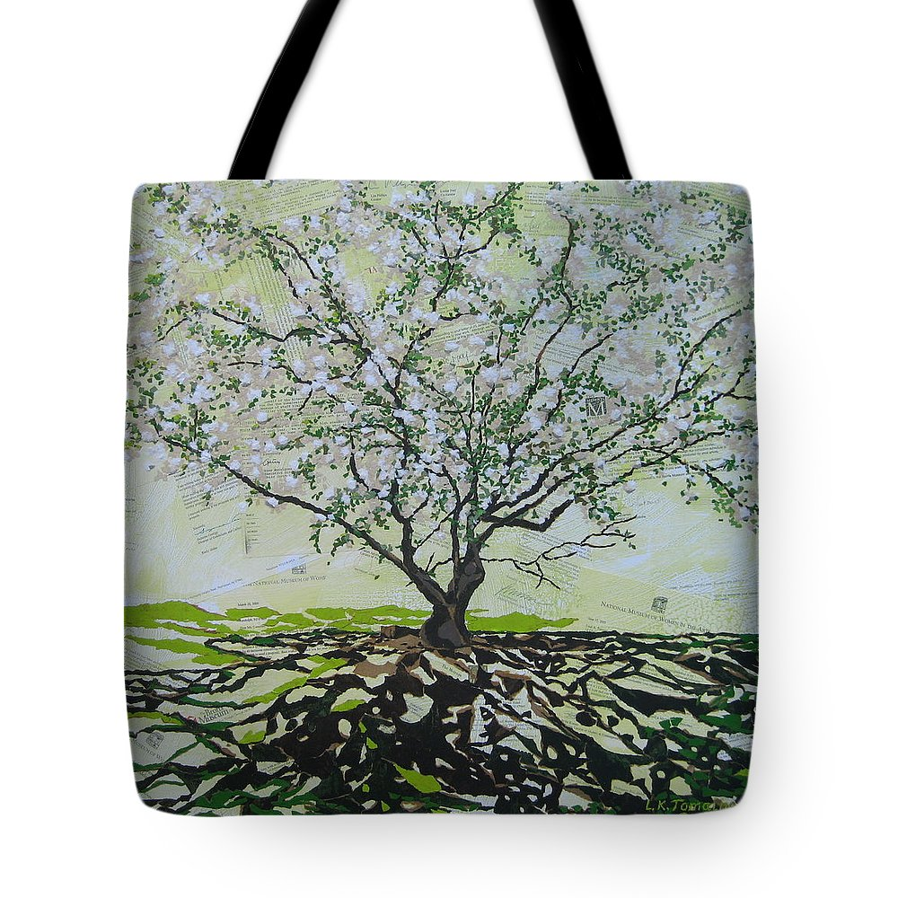 Apple Tree Tote Bag featuring the painting Sincerely-the Curator by Leah Tomaino