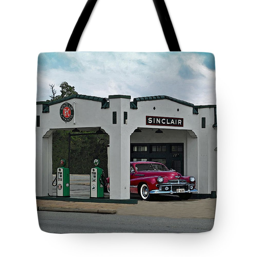 Cumming Tote Bag featuring the photograph Sinclair Gasoline by Jost Houk