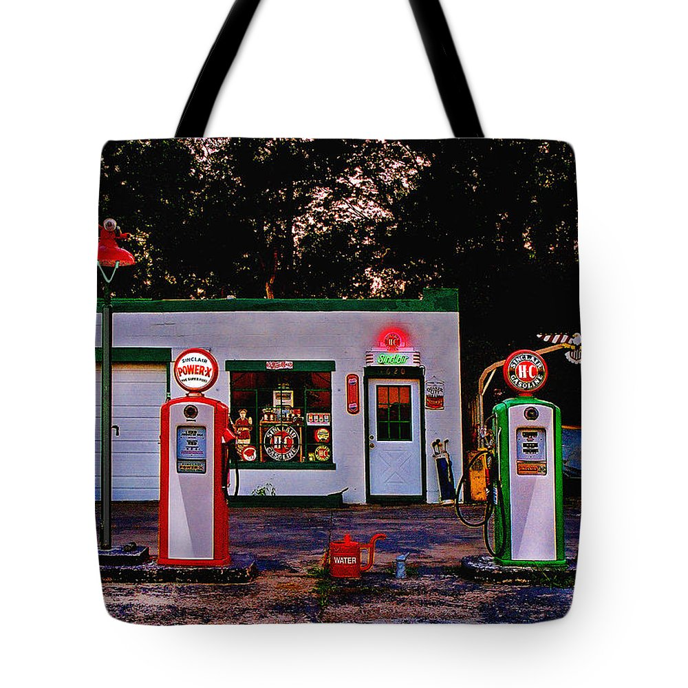 Gas Station Tote Bag featuring the photograph Sinclair by Steve Karol