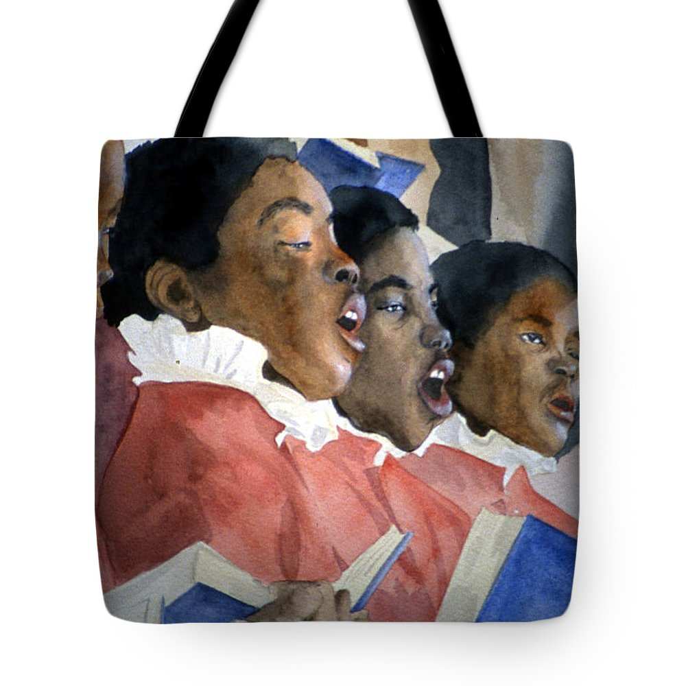 Choir Tote Bag featuring the painting Sing Out Your Joy by Jean Blackmer