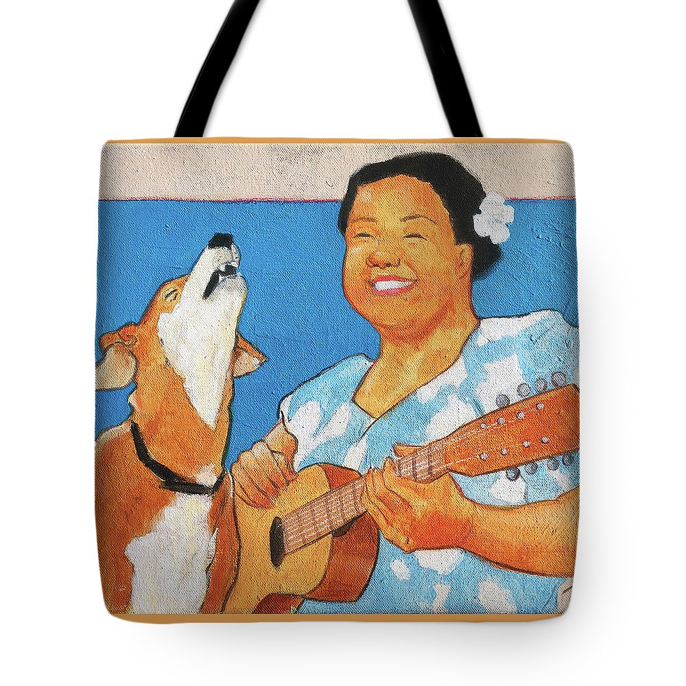 Hawaiian Tote Bag featuring the painting Sing To Me by Naro Naro