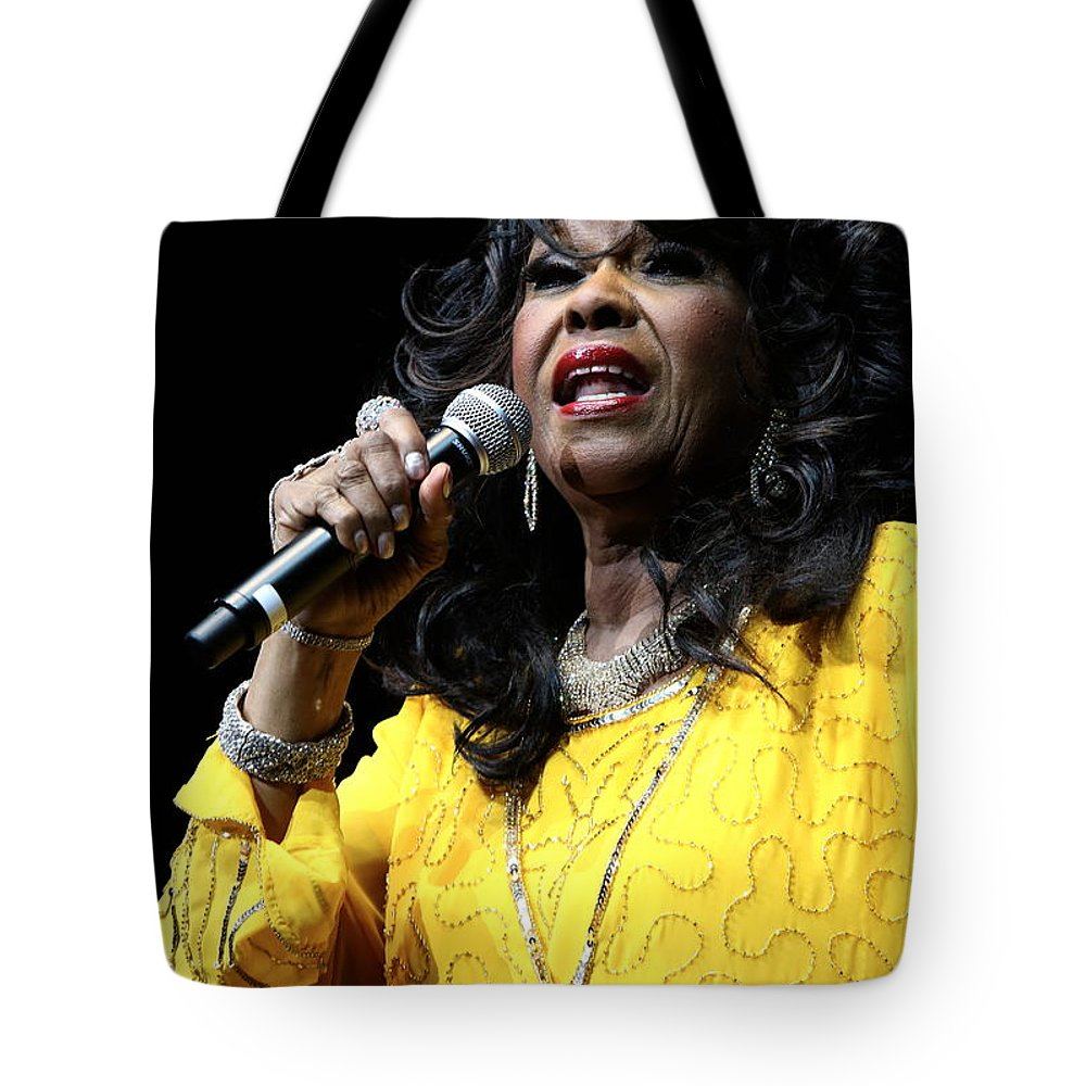 Singer Tote Bag featuring the photograph Singer Shirley Alston Reeves by Concert Photos