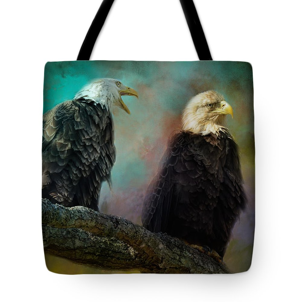 Jai Johnson Tote Bag featuring the photograph Singing Her A Spring Song by Jai Johnson