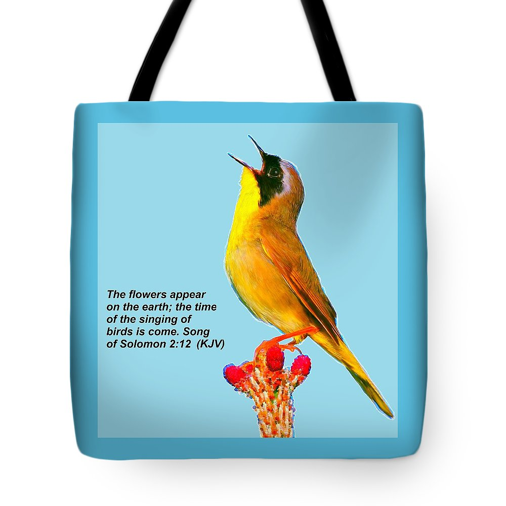 Bruce Nutting Tote Bag featuring the painting Singing Of Birds Is Come by Bruce Nutting
