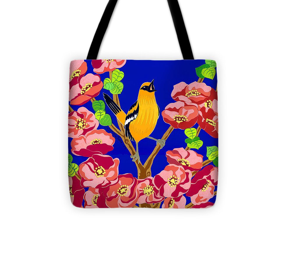 Nature Tote Bag featuring the drawing Singing Oriole by Lucyna A M Green
