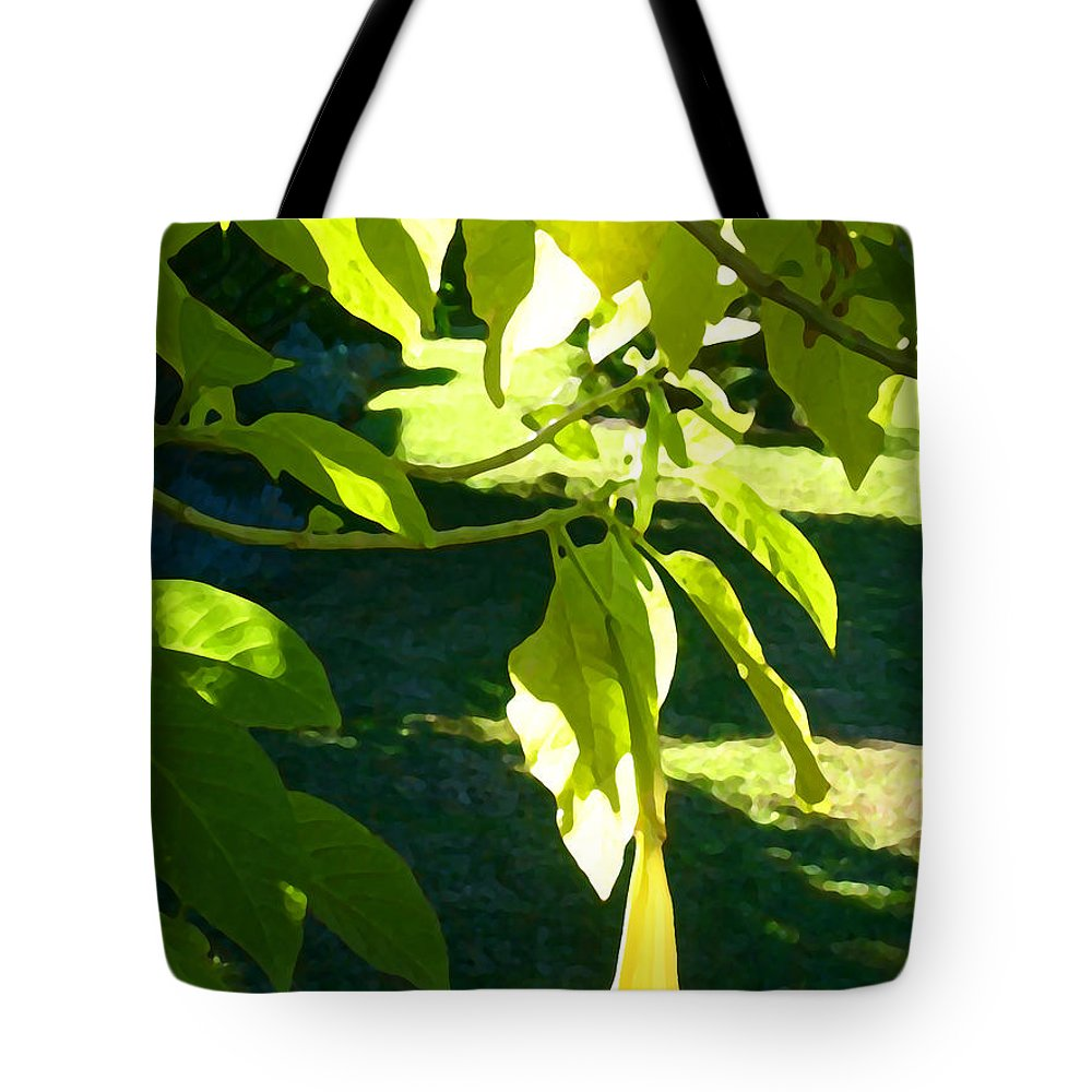 Spring Tote Bag featuring the painting Single Angel's Trumpet by Amy Vangsgard