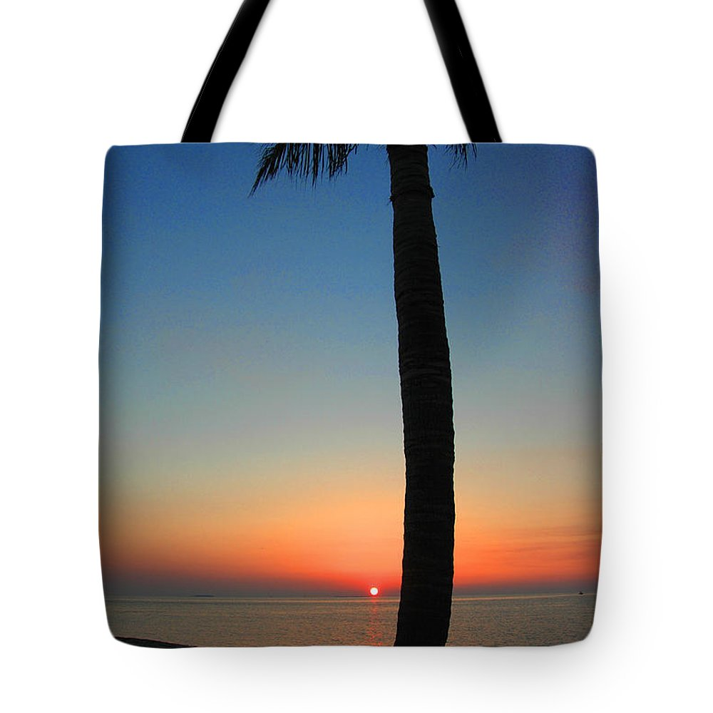 Photography Tote Bag featuring the photograph Single Palm And Sunset by Susanne Van Hulst