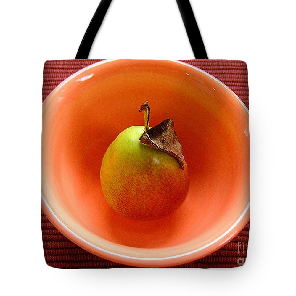 Nature Tote Bag featuring the photograph Single Pear In A Bowl Too by Lucyna A M Green