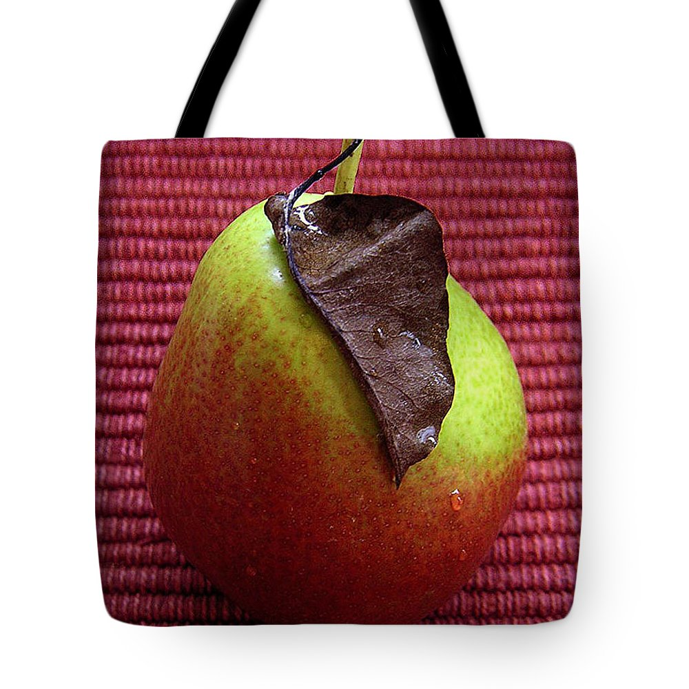 Nature Tote Bag featuring the photograph Single Pear Too by Lucyna A M Green