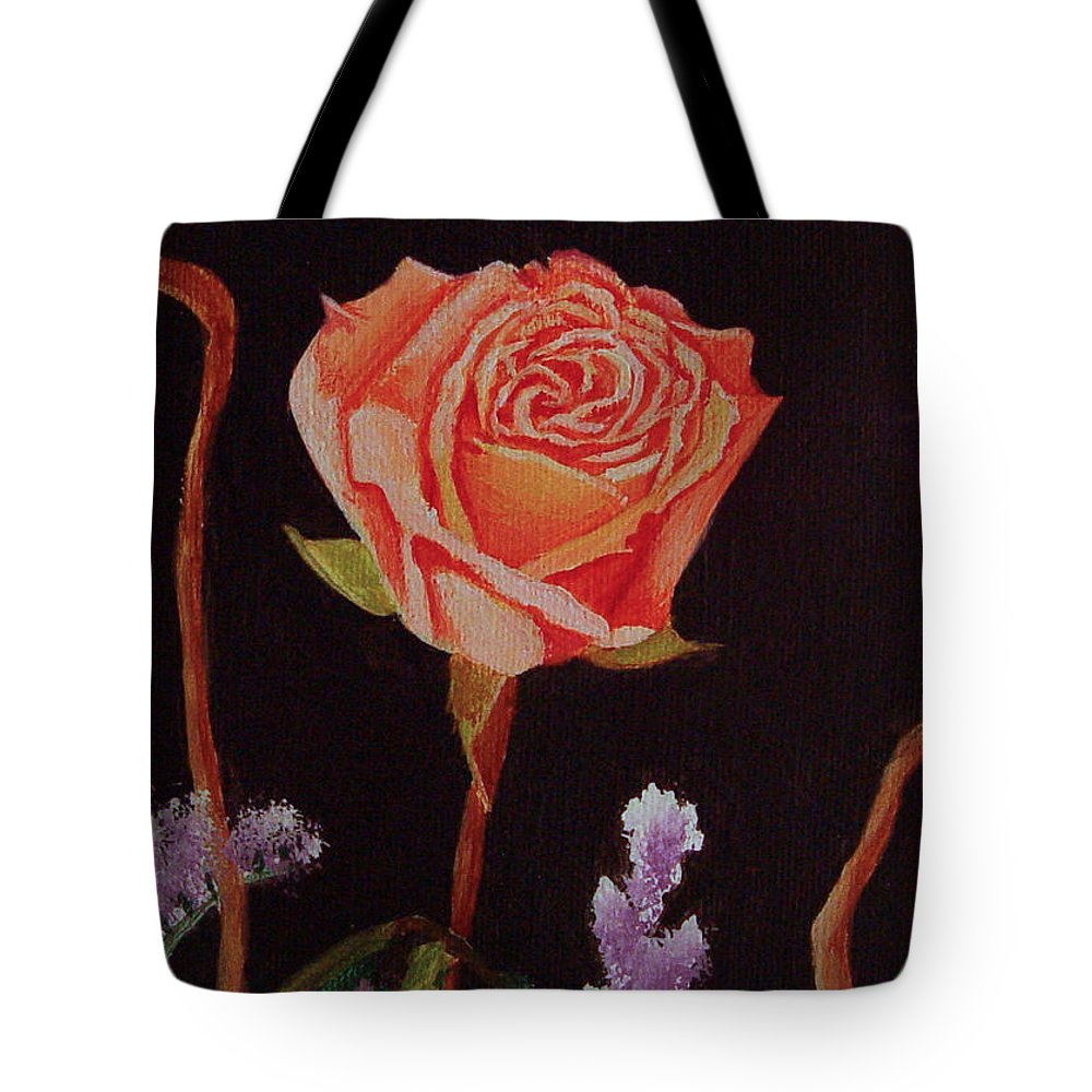 Rose Tote Bag featuring the painting Single Rose by Quwatha Valentine
