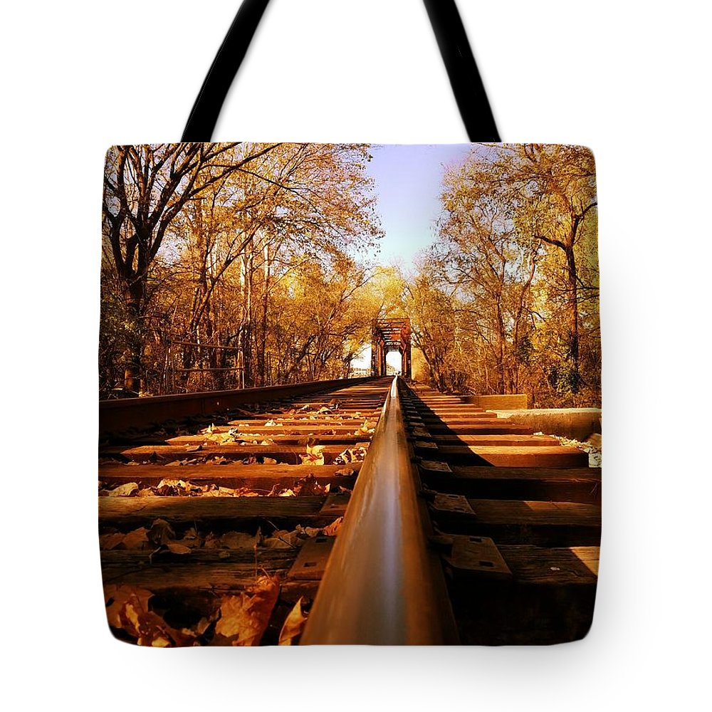 Railroad Tote Bag featuring the photograph Single Track Mind by Scott D Van Osdol