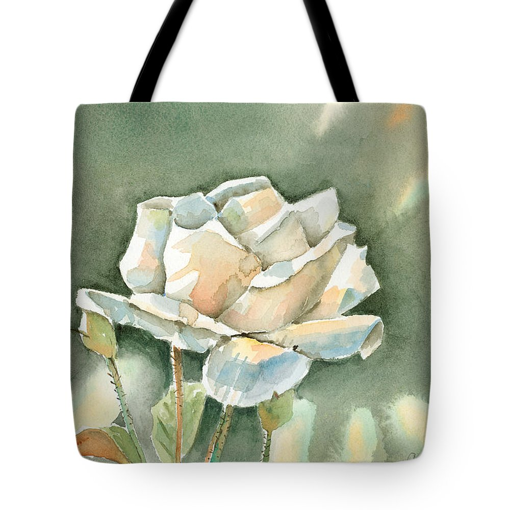 Rose Tote Bag featuring the painting Single White Rose by Arline Wagner