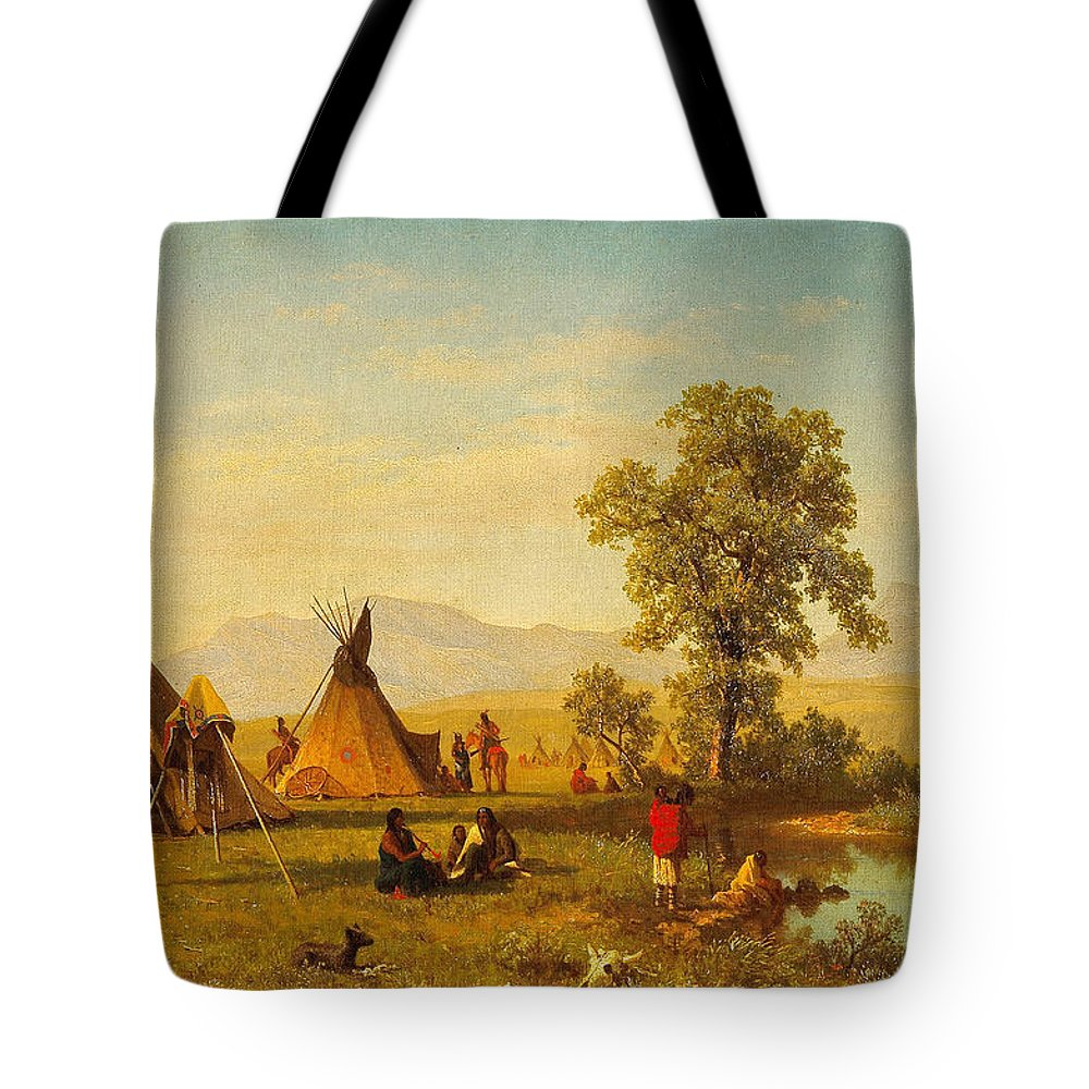 Sioux Village Near Fort Laramie - Native Indian Wall Art Prints Tote ...