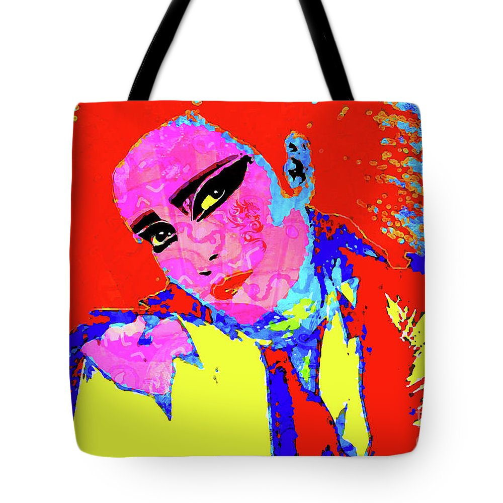 Siouxsie Tote Bag featuring the digital art Siouxsie With Dragon Tattoo by Neil Finnemore