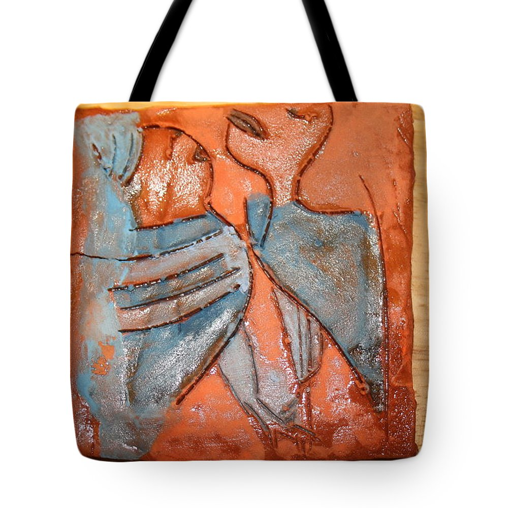 Jesus Tote Bag featuring the ceramic art Sir - Tile by Gloria Ssali