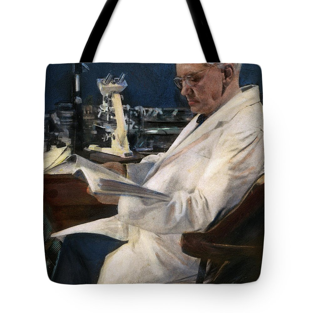 1954 Tote Bag featuring the drawing Sir Alexander Fleming by Granger