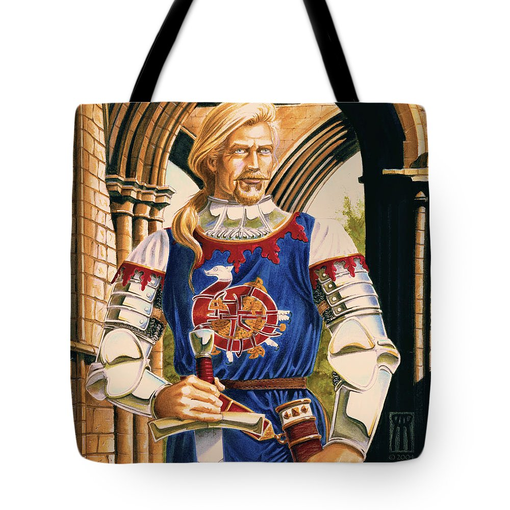 Swords Tote Bag featuring the painting Sir Dinadan by Melissa A Benson