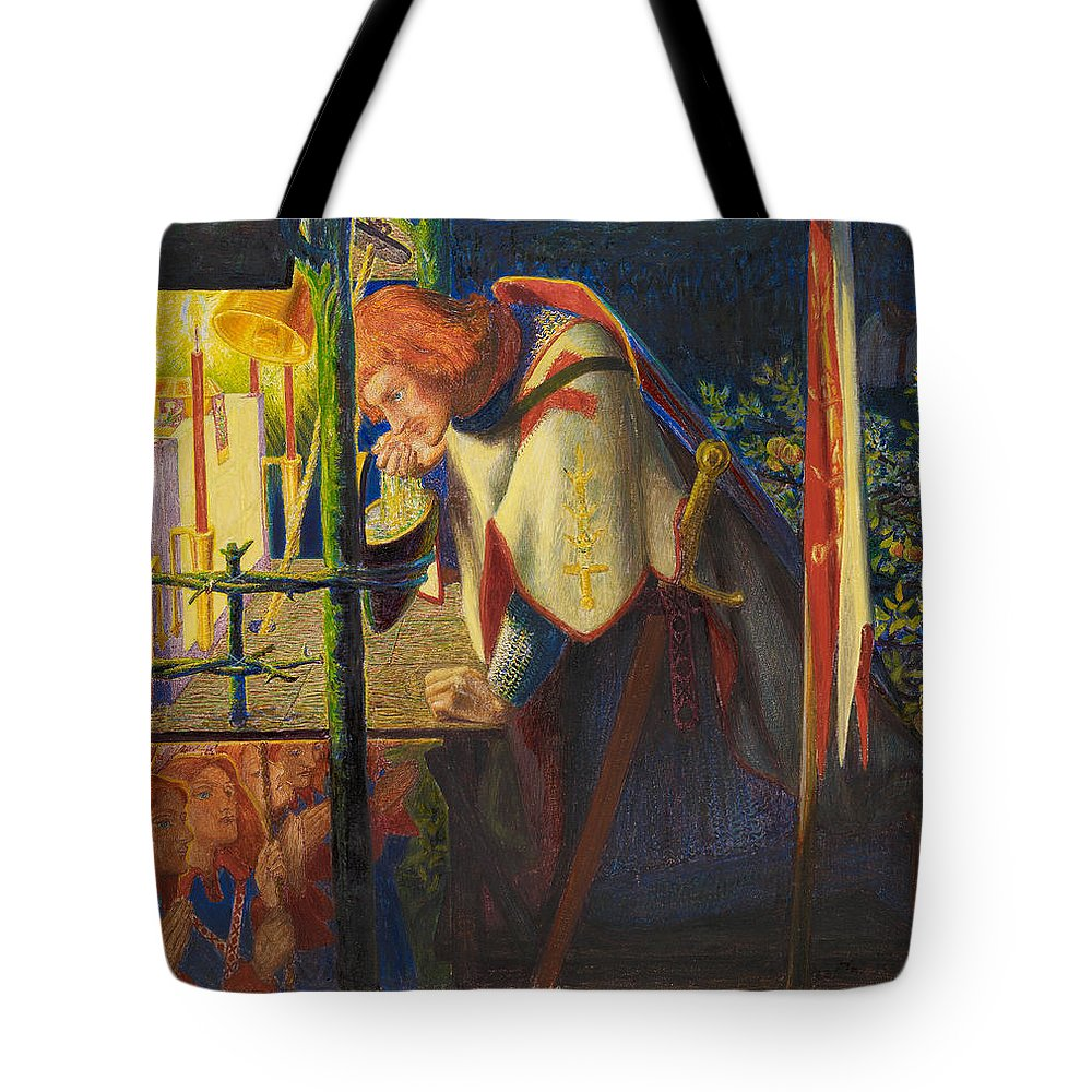Dante Gabriel Rossetti Tote Bag featuring the painting Sir Galahad At The Ruined Chapel by Dante Gabriel Rossetti