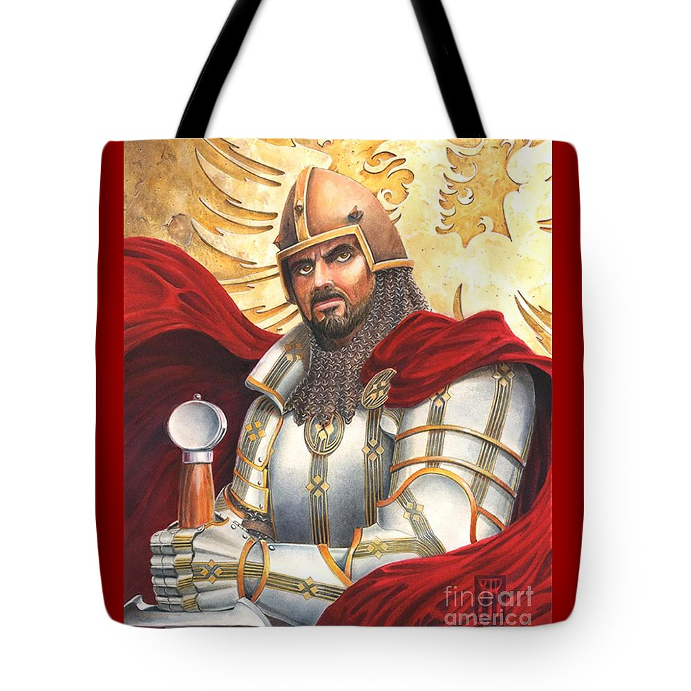 Swords Tote Bag featuring the drawing Sir Gawain by Melissa A Benson