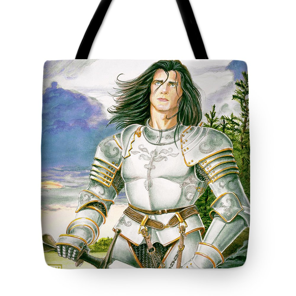 Swords Tote Bag featuring the painting Sir Lancelot by Melissa A Benson