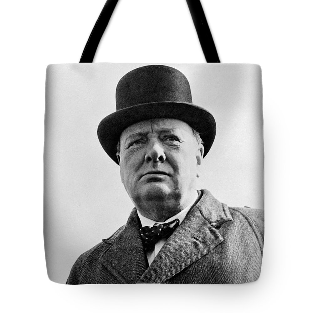 Wwii Tote Bag featuring the photograph Sir Winston Churchill by War Is Hell Store