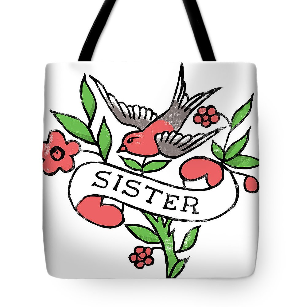 Americana Tote Bag featuring the digital art Sister Tattoo Design by Bob Newman