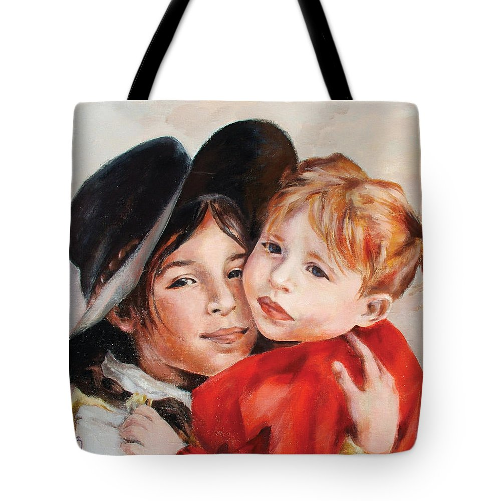Portrait Tote Bag featuring the painting Sisters by Ekaterina Mortensen