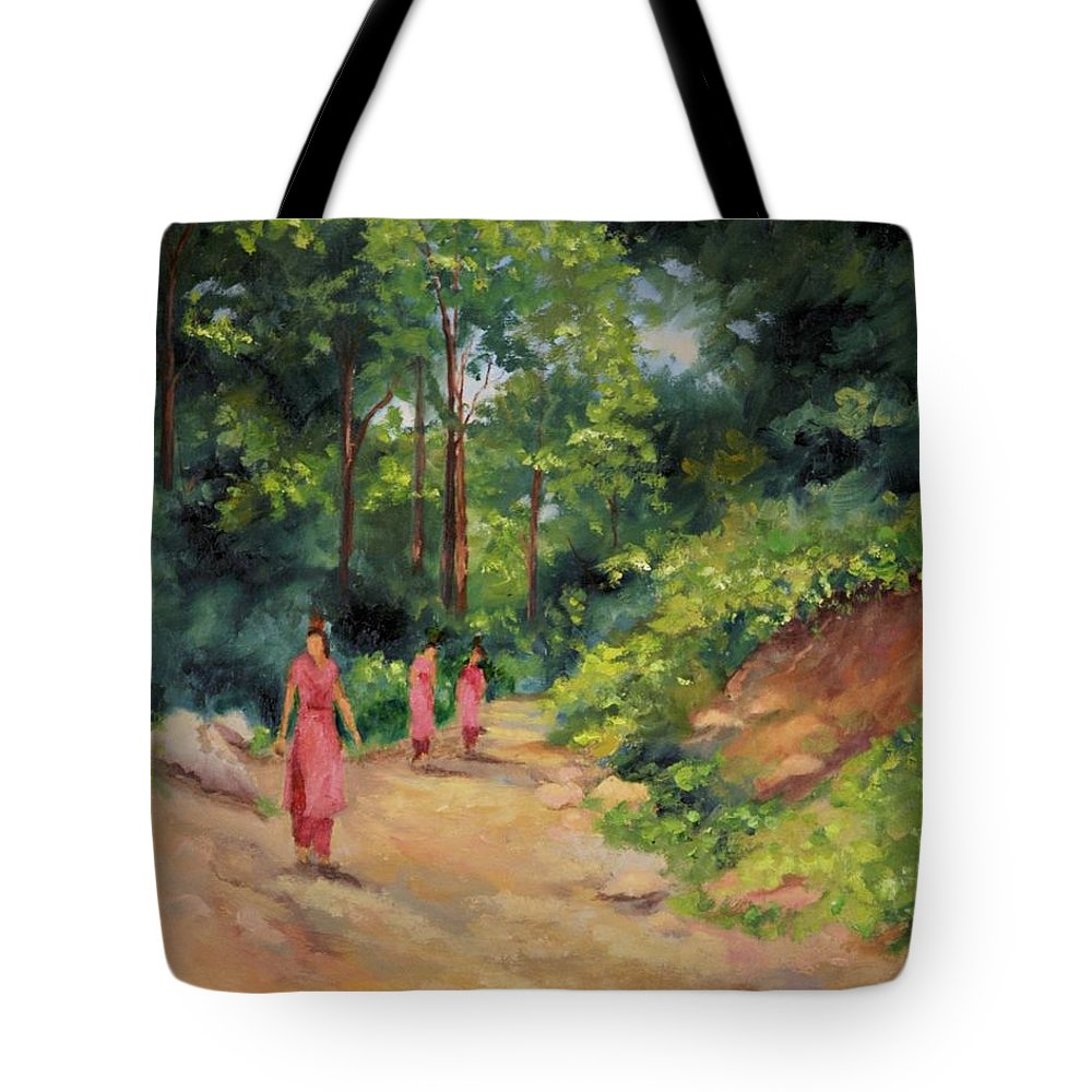 Nepal Landscapes Tote Bag featuring the painting Sisters In Nepal by Ginger Concepcion