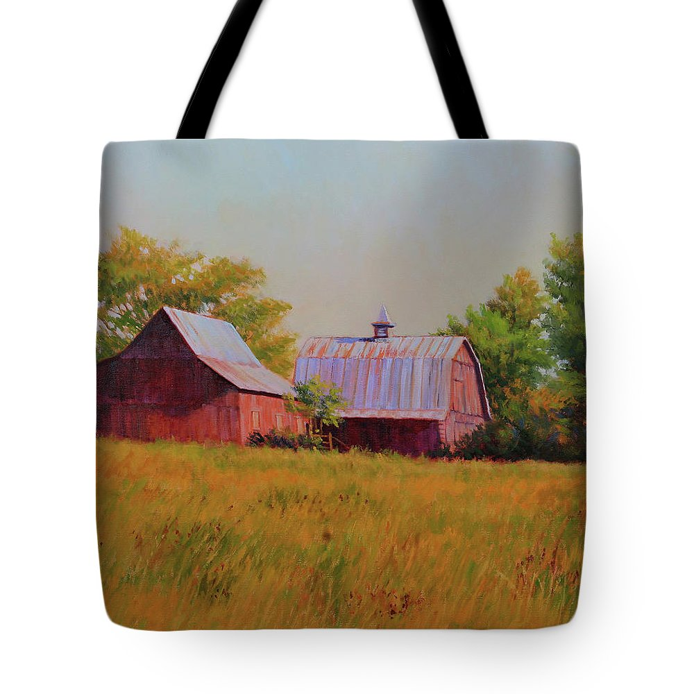 Barns Tote Bag featuring the painting Sisters by Keith Burgess