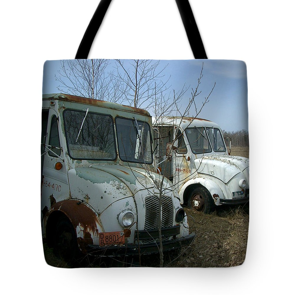 Trucks Tote Bag featuring the photograph Sisters by Tim Nyberg