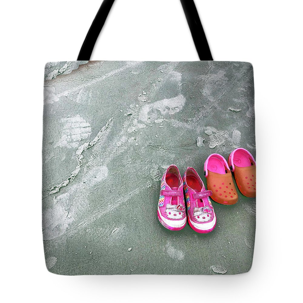 Sand Tote Bag featuring the photograph Sisters Playing Barefoot In The Sand by Rick Locke