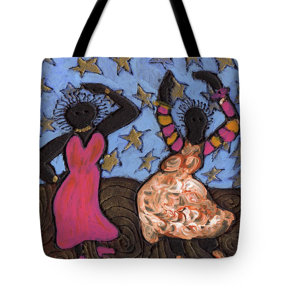 Folk Art Tote Bag featuring the painting Sisters Sarah Sue And Sally Mae Swinging The Night Away by Wayne Potrafka