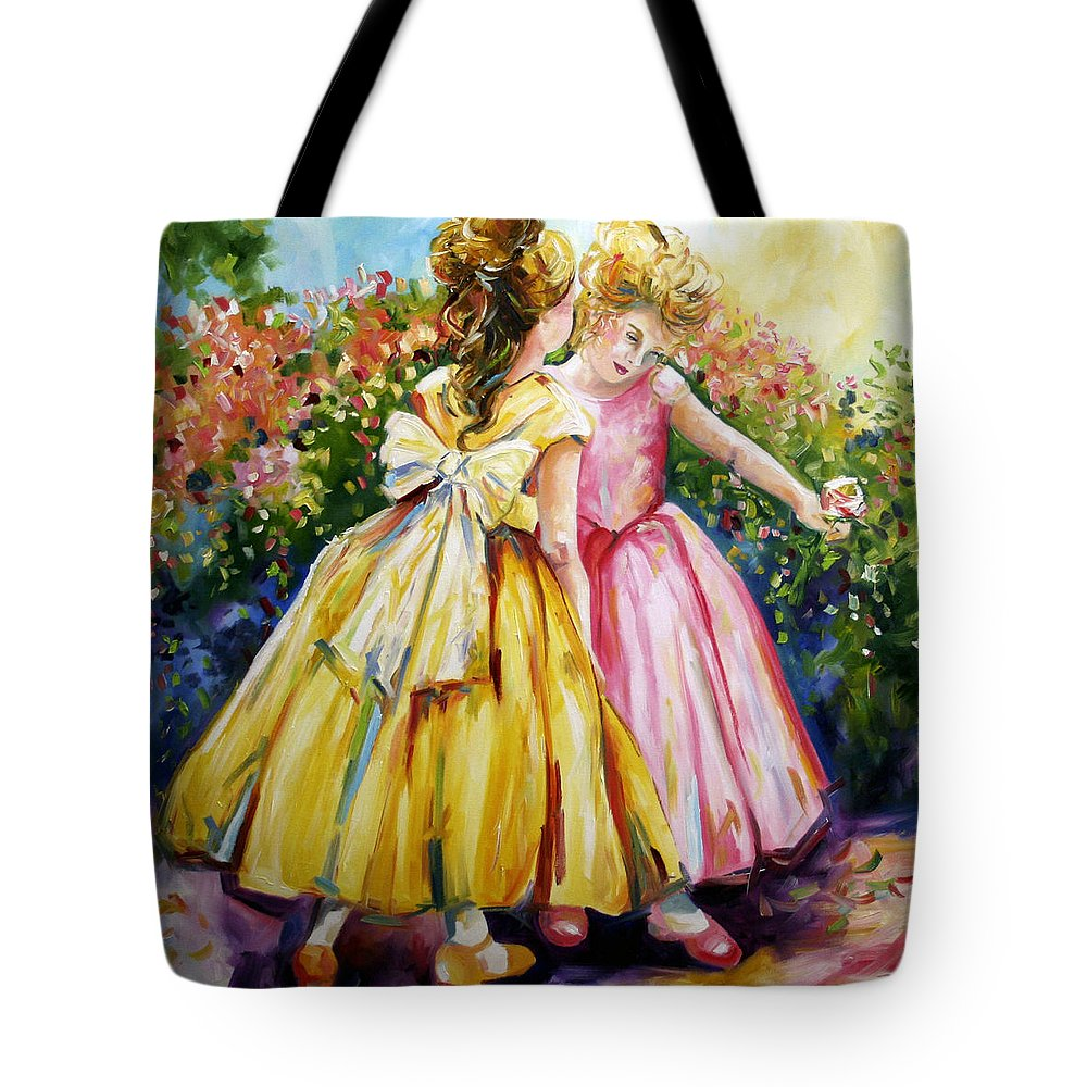 Girls Tote Bag featuring the painting Sisters Secrets by Laurie Pace