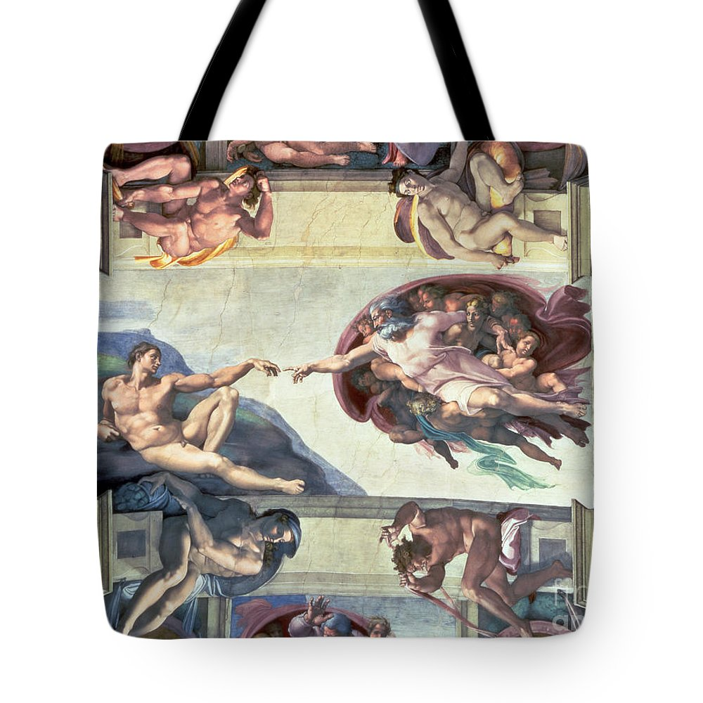 Sistine Tote Bag featuring the painting Sistine Chapel Ceiling Creation Of Adam by Michelangelo