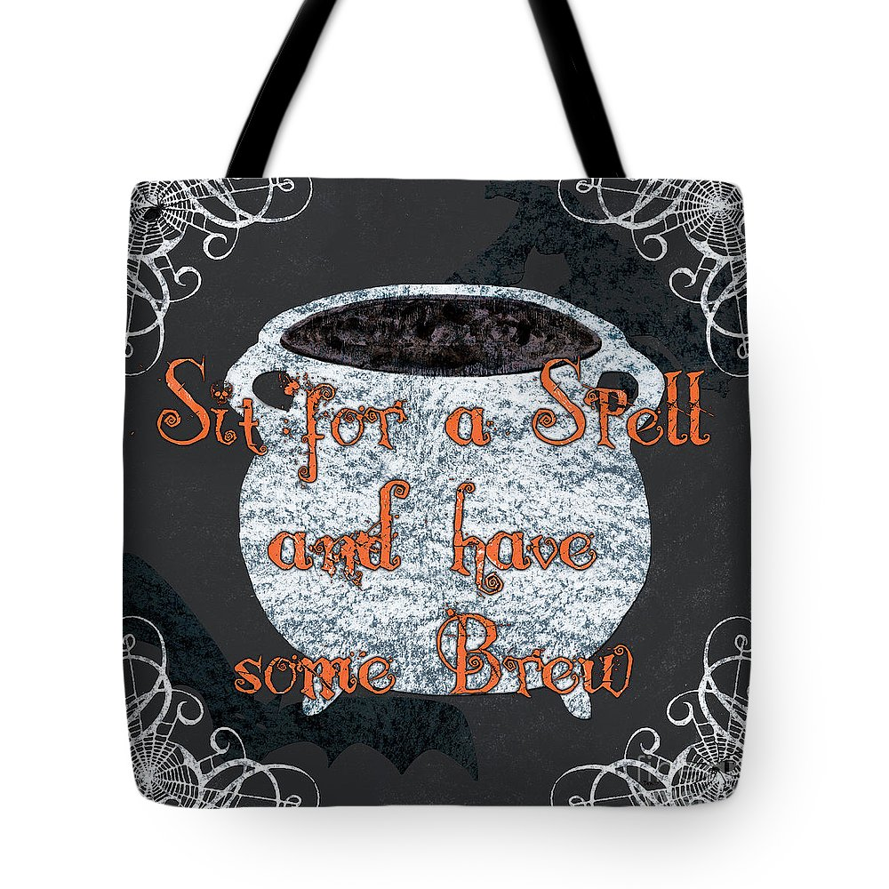 Spell Tote Bag featuring the painting Sit For A Spell by Debbie DeWitt