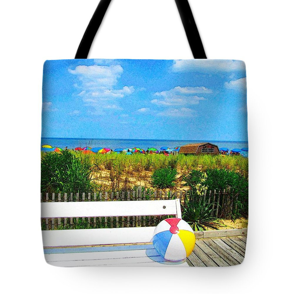 Rehoboth Beach Boardwalk Photography Tote Bag featuring the photograph Sit With Me by Jeffrey Todd Moore
