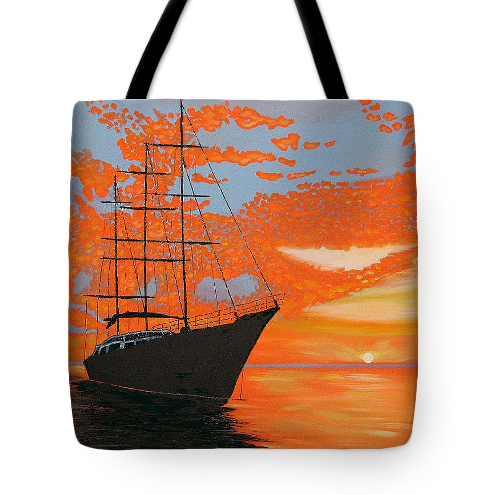Seascape Tote Bag featuring the painting Sittin' On The Bay by Marco Morales