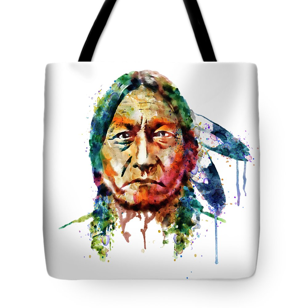 Sitting Bull Tote Bag featuring the painting Sitting Bull Watercolor Painting by Marian Voicu