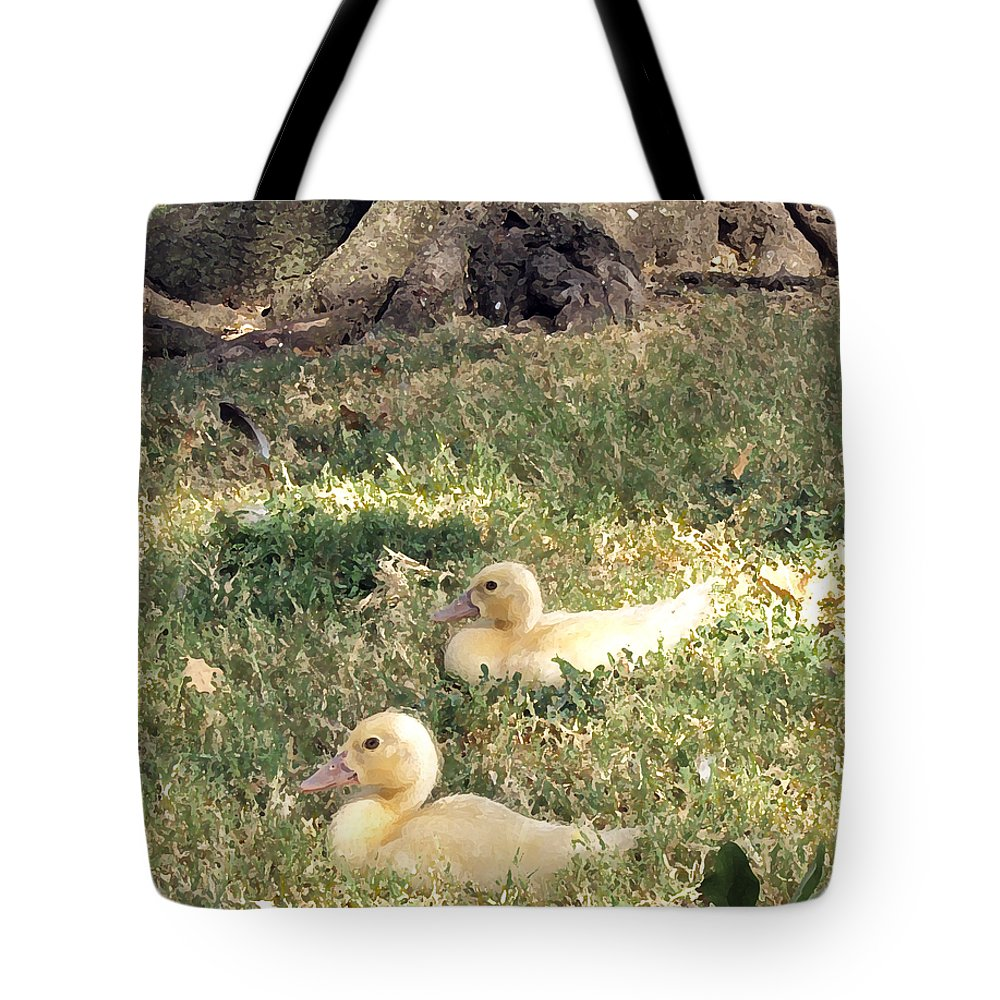Duck Tote Bag featuring the photograph Sitting Ducks by Angelina Vick