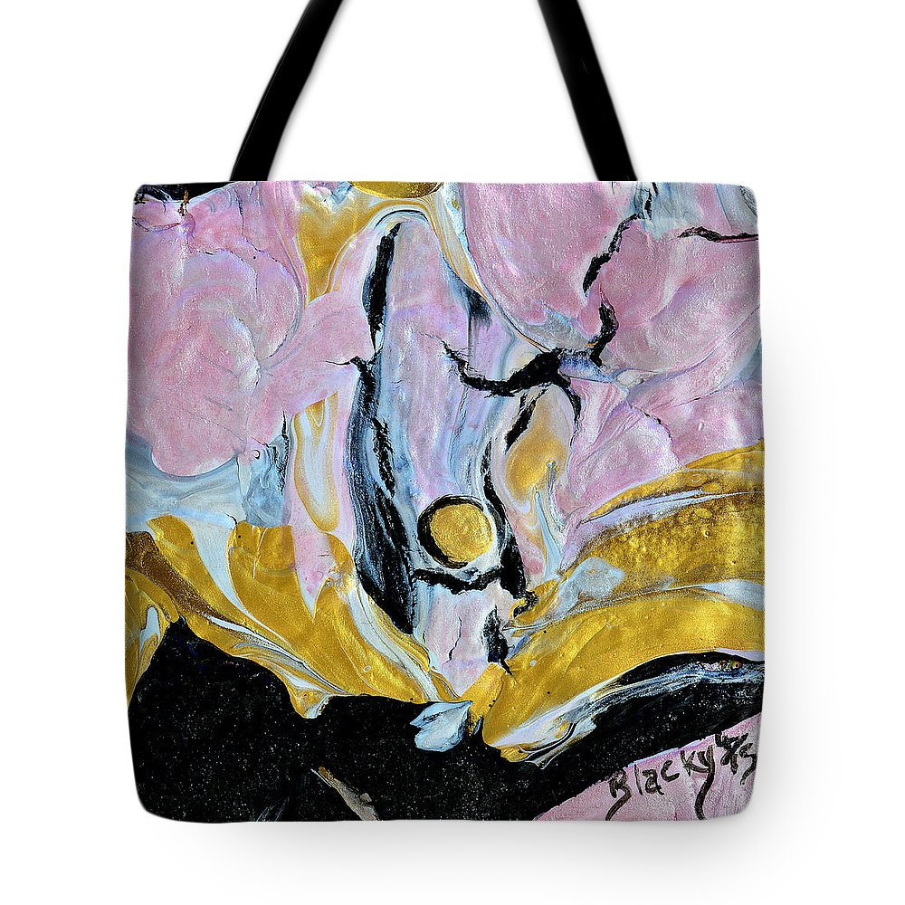 Pink Cloud Tote Bag featuring the painting Sitting In A Pink Cloud by Donna Blackhall