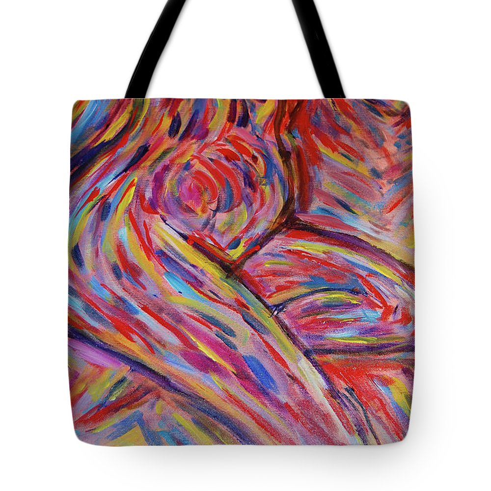 Nude Tote Bag featuring the painting Sitting Nude by Carolyn Donnell
