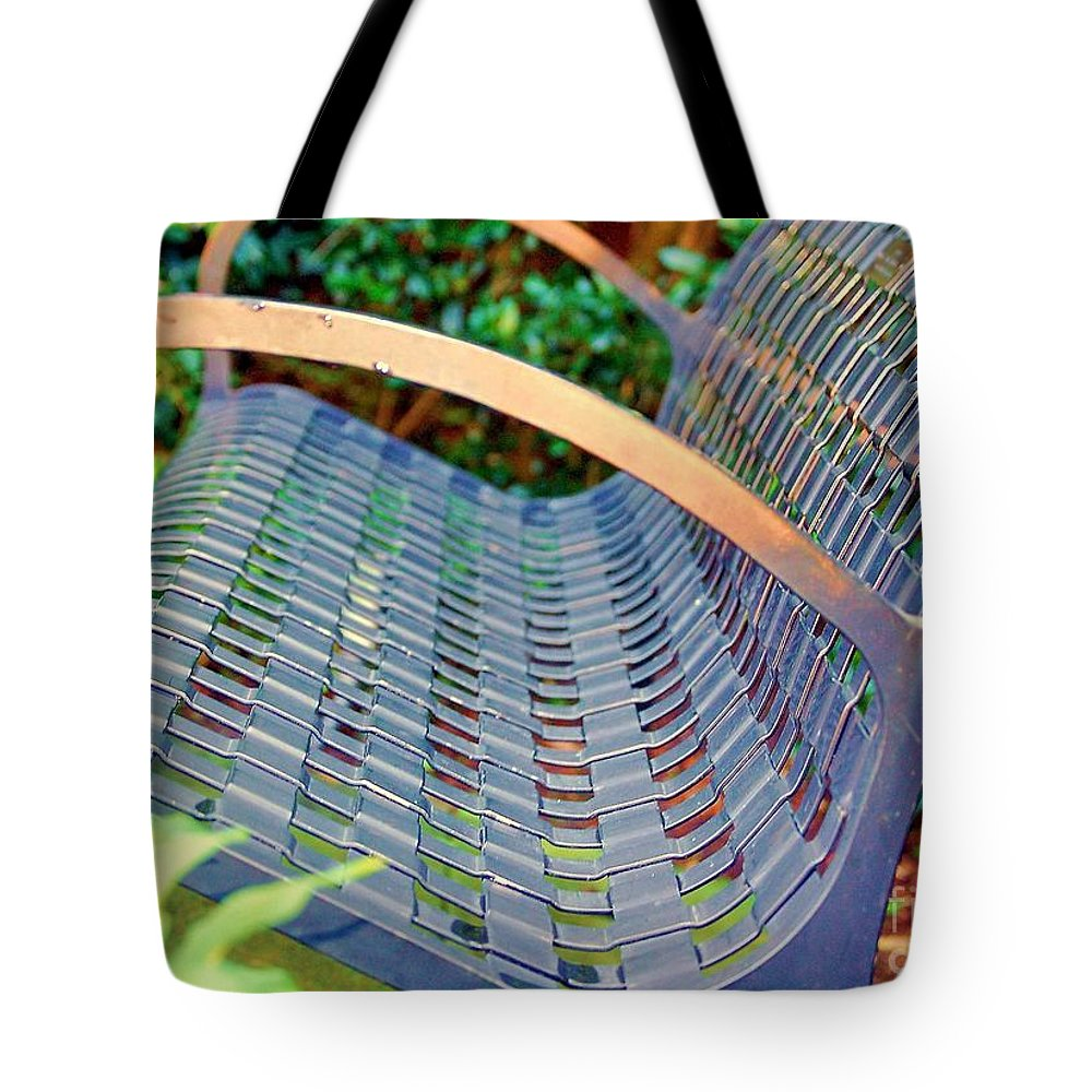 Bench Tote Bag featuring the photograph Sitting On A Park Bench by Debbi Granruth
