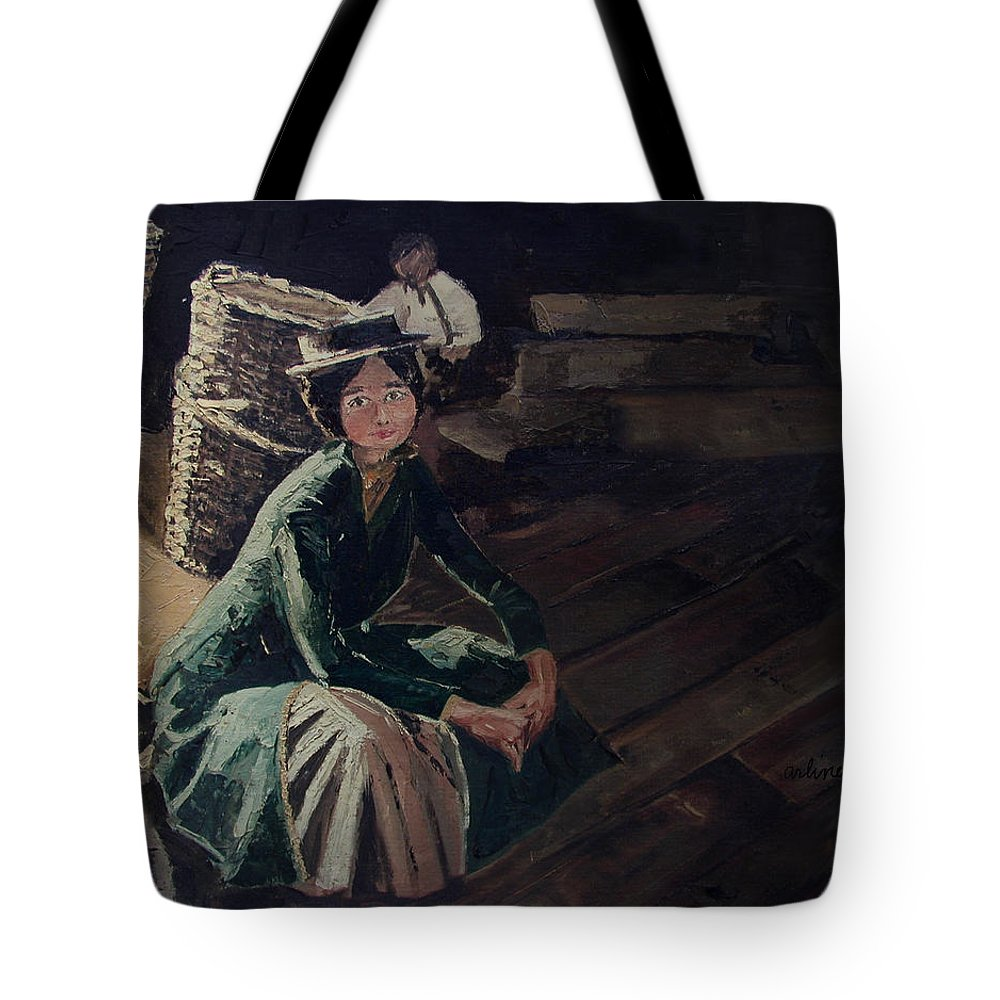 Lady Tote Bag featuring the painting Sitting On The Dock by Arline Wagner