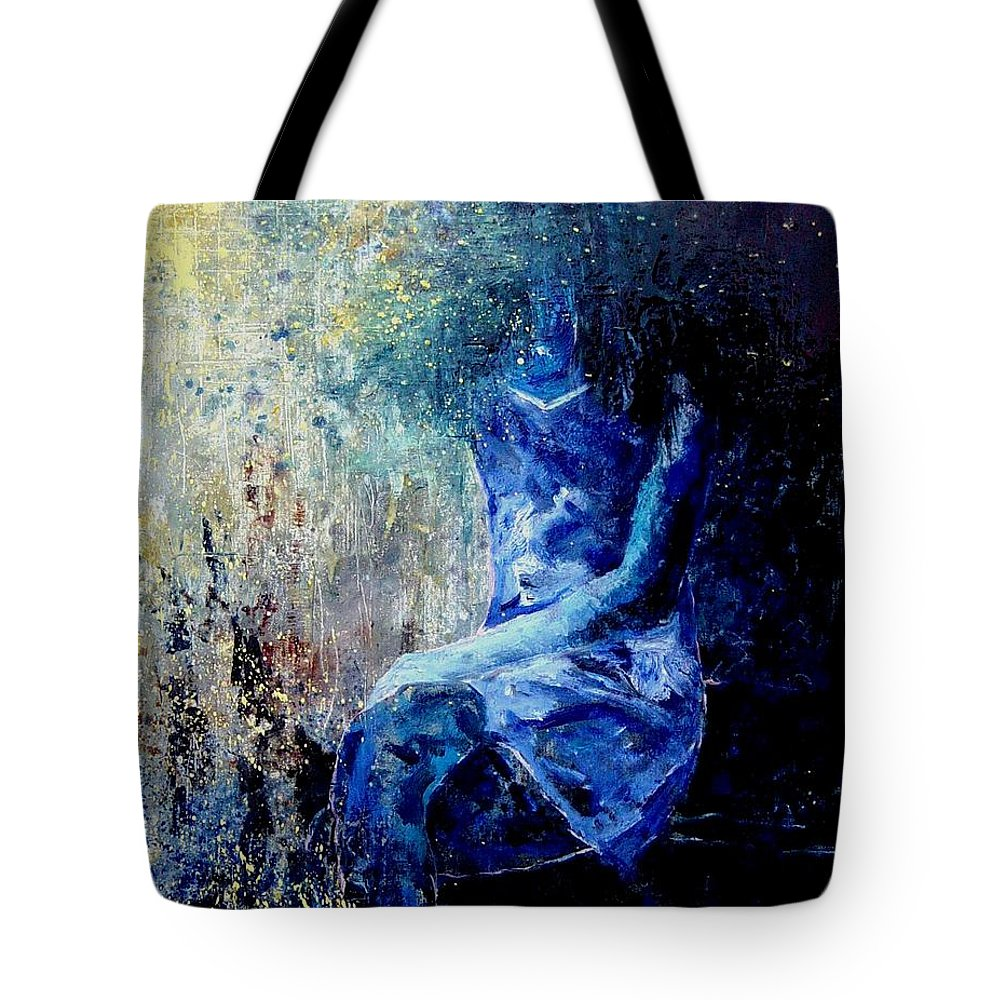 Woman Girl Fashion Tote Bag featuring the painting Sitting Young Girl by Pol Ledent