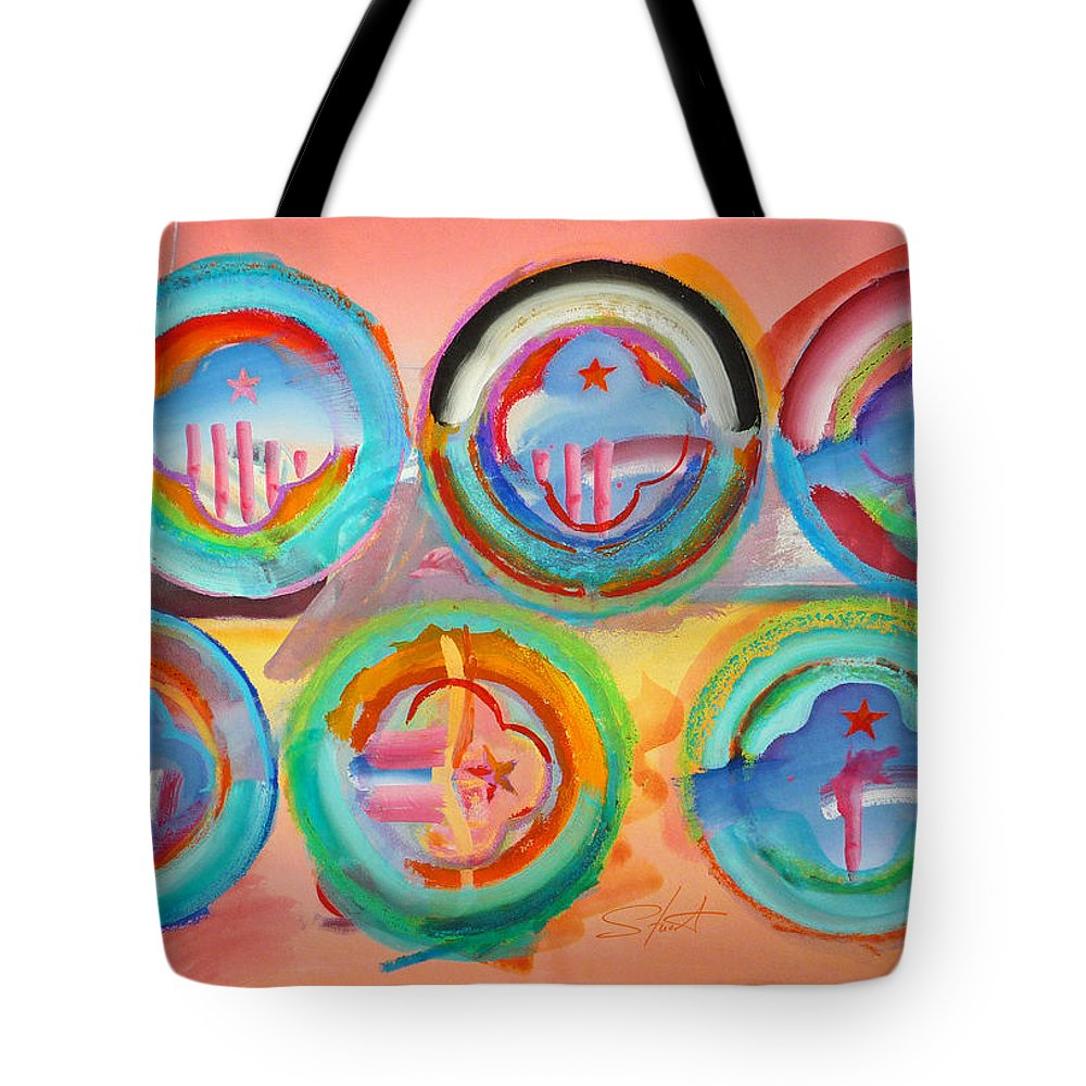 9/11 Tote Bag featuring the painting Six American Icons by Charles Stuart
